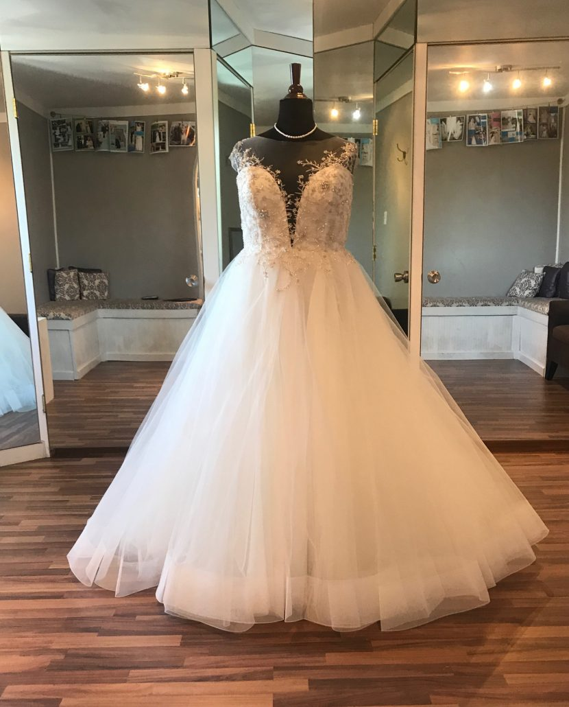 Illusion top ball gown