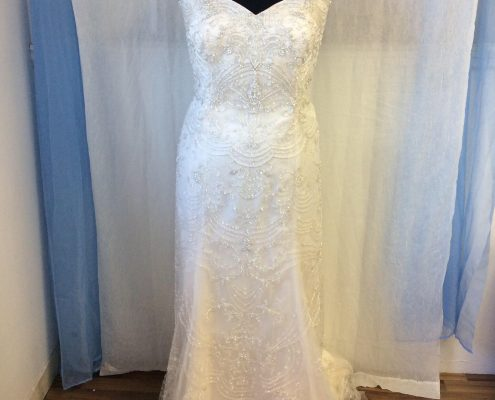 Fully beaded gown with cap sleeves